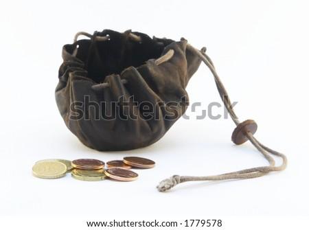 money purse on a white background - stock photo