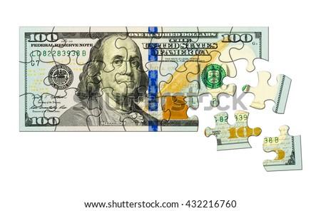 Money puzzle isolated on white background - stock photo