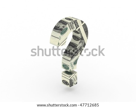 Money question. Question mark with texture of the dollar isolated on white background. High quality 3d render. - stock photo
