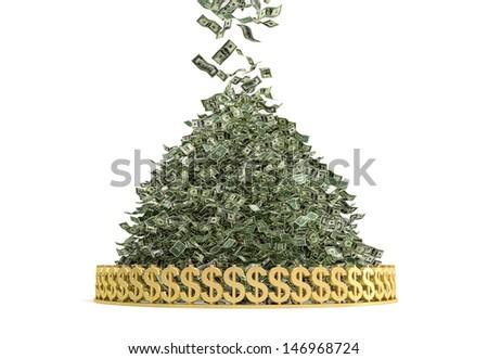 Money Rain - Pile of Cash - stock photo