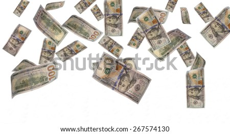 money raining from the sky. it's several euro bills isolated on white