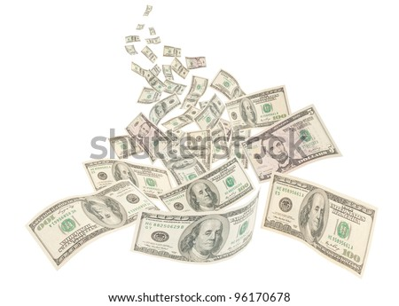 Money river, floating American hundred notes isolated on white background