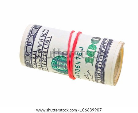 Money roll with US dollars bills isolated on white backgroun