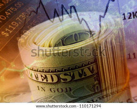 Money roll with US dollars. Finance system concept. - stock photo