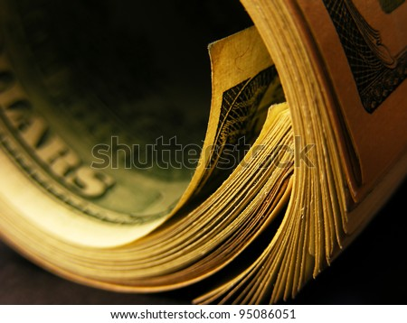 Money roll with US dollars. Macro image. - stock photo