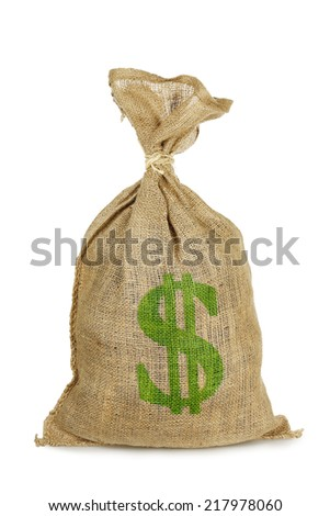 money sack with dollar sign isolated on white - stock photo