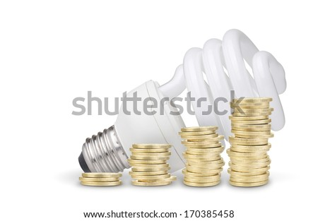 Money saved with energy saver bulb. Isolated on white background - stock photo