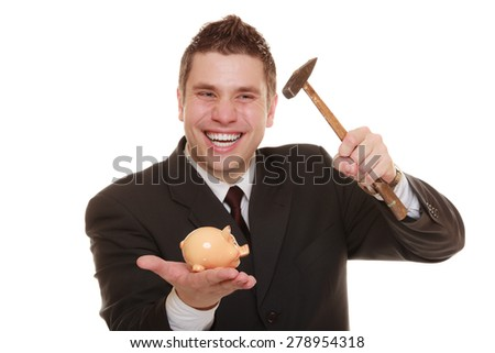 money saving concept. Happy funny business man guy with hammer about to smash piggy bank isolated on white - stock photo