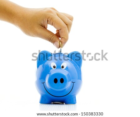 Money Saving with blue Piggy bank