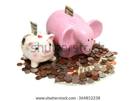 Money savings, financial security, or personal funds concept. Cute Piggy bank with a pile of coins and cash on the white background, - stock photo