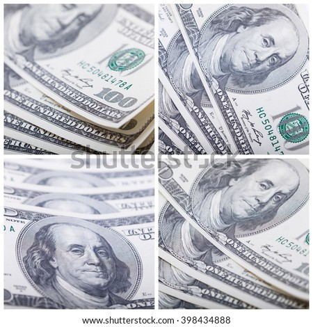 Money set. Shooting money closeup with macro lens. Business concept. Selective focus, blurred background - stock photo
