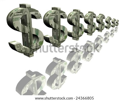 Money signs of dollar on a white background