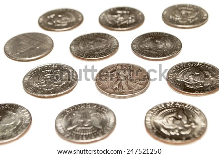 Money Silver Coins, Dollars and Half Dollars