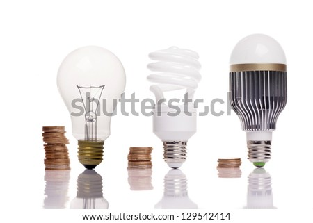 money spent in different types of light bulbs - stock photo