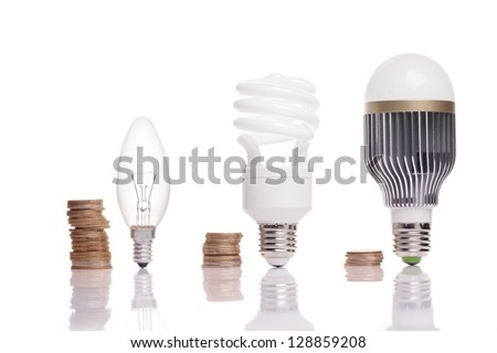 money spent on different types of light bulbs - stock photo