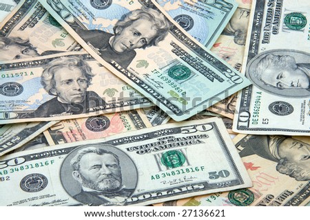 Money spread out - stock photo
