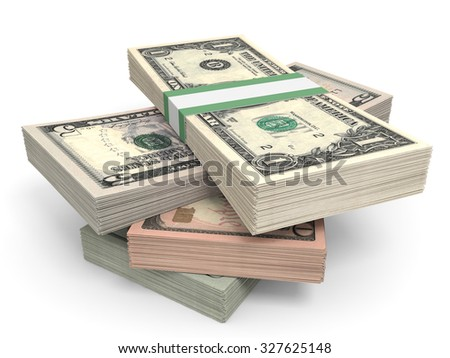 Money stack. Different dollar bank notes.3D illustration. - stock photo