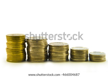 Money, stack of coins on white background. Saving money concept. Take the risk