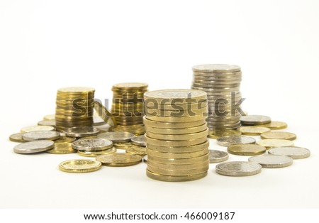 Money, stack of coins on white background. Saving money concept. Take the risk Quiet life Confidence in the future