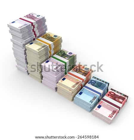 Money stacks graph. Euro bank notes. 3D illustration. - stock photo
