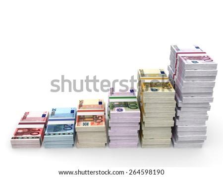 Money stacks graph. Euro bank notes. 3D illustration. - stock photo
