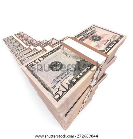 Money stacks graph. Fifty dollars. 3D illustration.