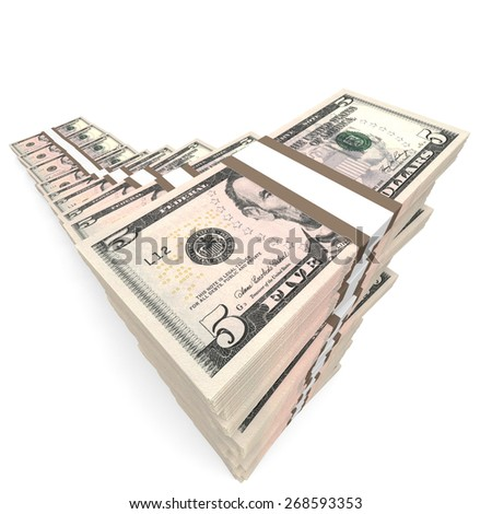 Money stacks graph. Five dollars. 3D illustration.