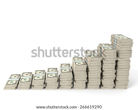 Money stacks graph. One dollar. 3D illustration. - stock photo