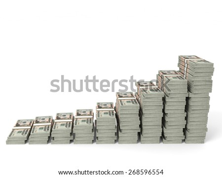 Money stacks graph. Twenty dollars. 3D illustration. - stock photo