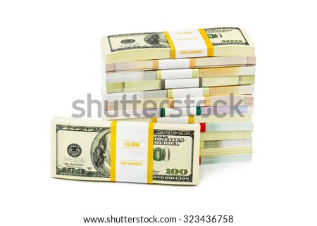Money stacks isolated on white background - stock photo