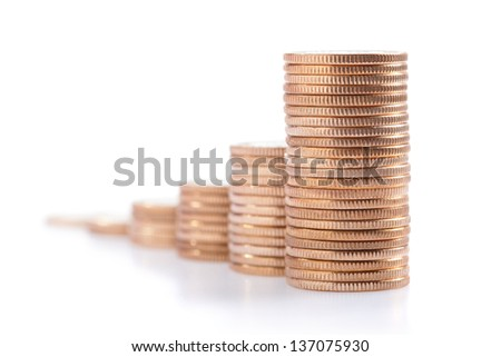 money stairs isolated over the white background - stock photo