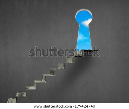 Money stairs with key hole and blue sky nobody - stock photo