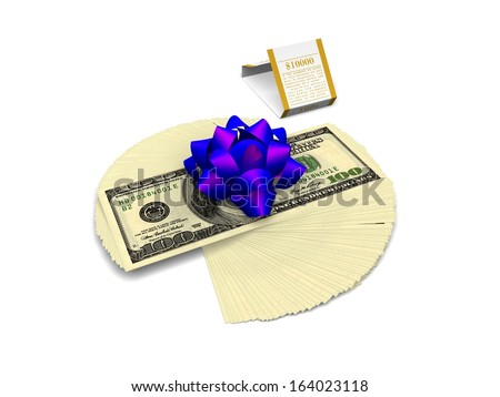 Money Stocking Stuffers. One Hundred One Hundred Dollar Notes ($100 each). Stack of a crisp $10,000 cash with a beautiful bow, making any day a fun holiday spent joyfully spending.