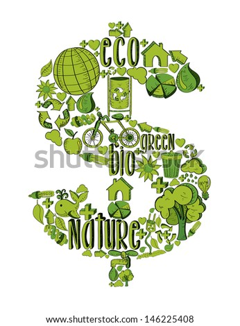 Money symbol with environmental hand drawn icons in green. - stock photo