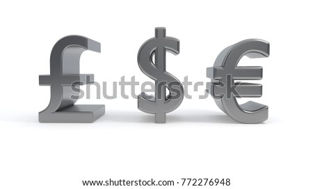 Money symbols text on a white background, 3d render