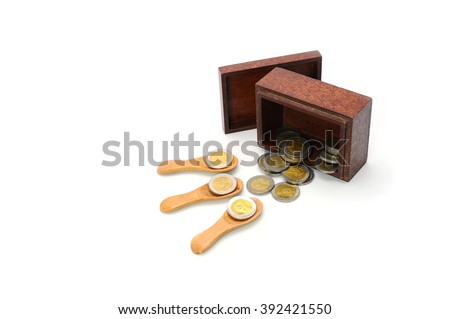 money, thai coins bath and wooden box on white background - stock photo