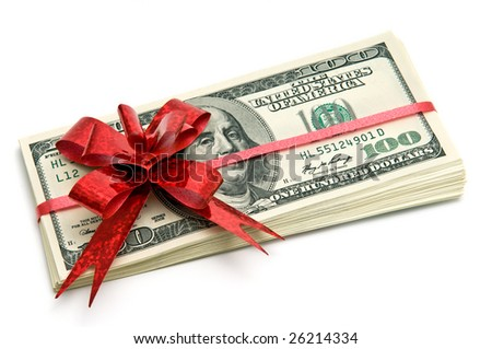 Money tied red ribbon for gift - stock photo