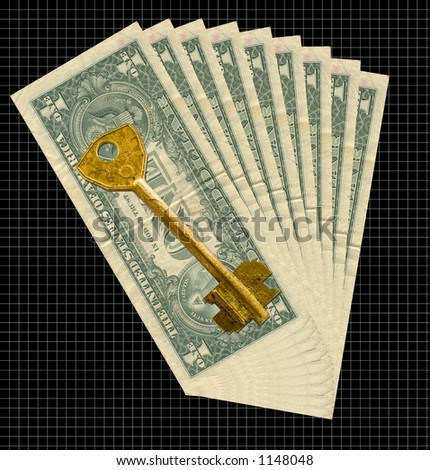 Money to a dark background and an old metal key - stock photo