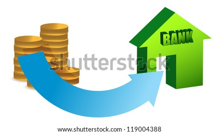 money to the bank concept illustration design over white - stock photo