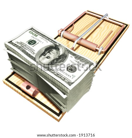 Money Trap Money Concept 3D (with clipping path) - stock photo