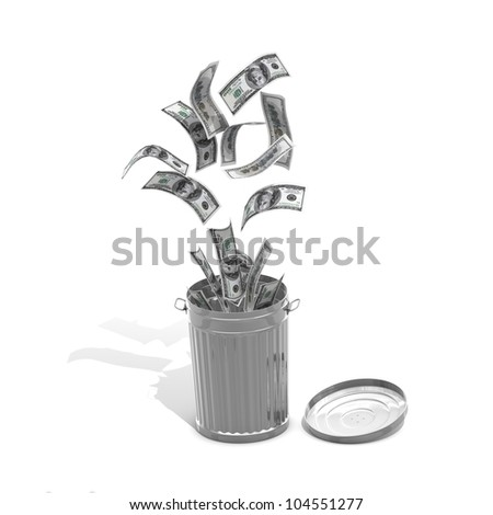 Money trash concept - computer render