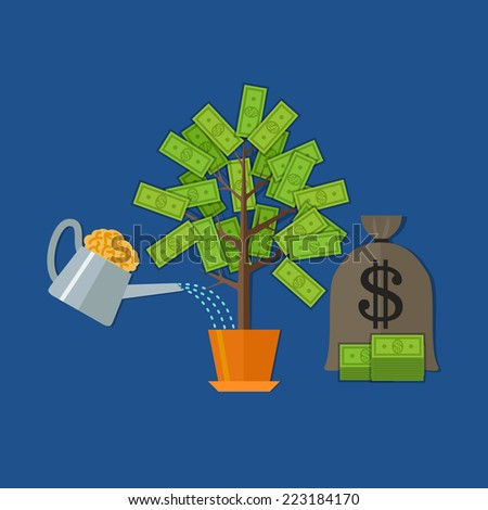 Money tree concept in flat style with 3 elements. Rasterized version. - stock photo