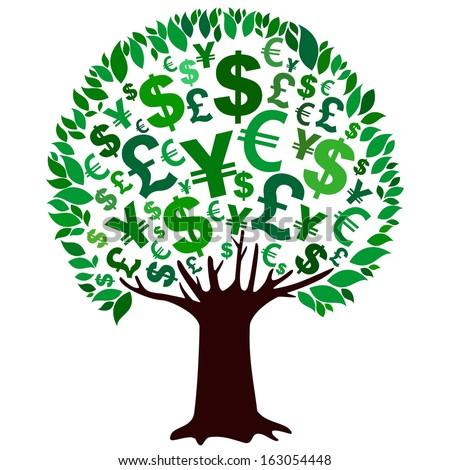 Money tree isolated on White background.  illustration  - stock photo