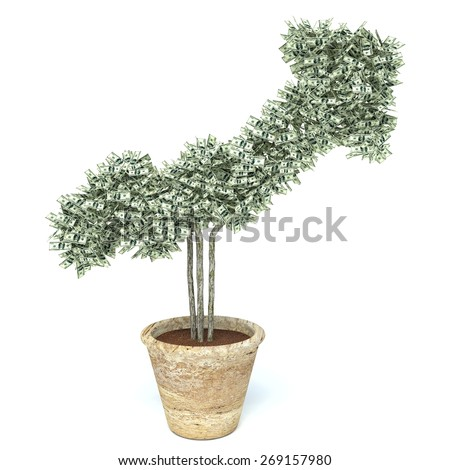 money tree made of hundred dollar bills, isolated on white background