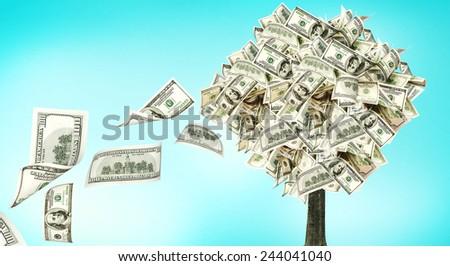 Money tree on blue background  - stock photo