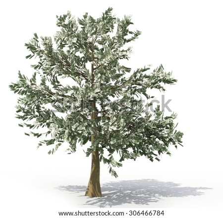 Money tree over white. Tree with banknotes as leaves. - stock photo
