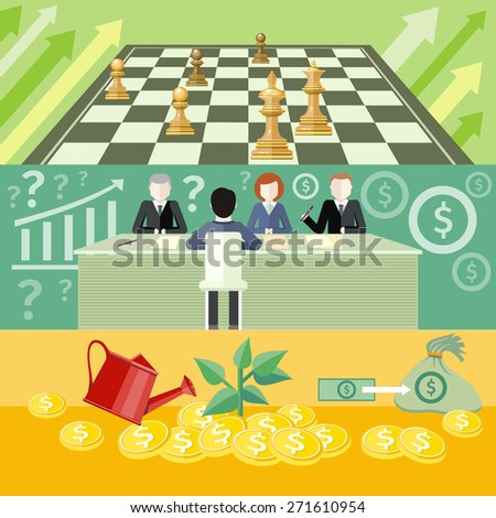 Money tree with coins. Investment. Business partners sitting at table and discussing documents and ideas at meeting. Consulting. Business strategic management formation in chess game. Raster version - stock photo