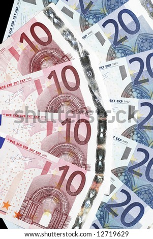 Money - Twenty And Ten Euro Notes Laid Out As Fan - stock photo