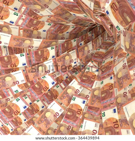 Money vortex of ten euro bills and pension plans - stock photo