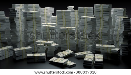 Money wall made with stacks of money rendered in 3d  - stock photo